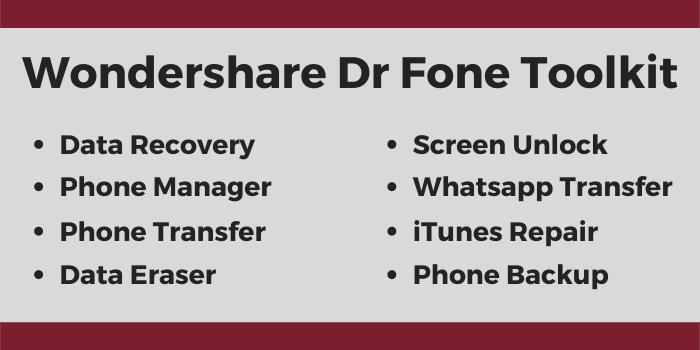 Wondershare Dr Fone Toolkit